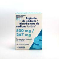 ALGINATE DE SODIUM/BICARBONATE DE SODIUM SANDOZ 500 mg/267 mg, suspension buvable en sachet